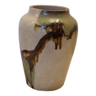 Vintage Japanese Ceramic Crackle Glaze Vase For Sale