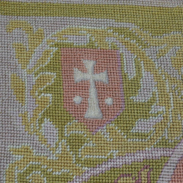 Lathe 19th Century Wool Needlepoint Panel With Lady and Cheetah For Sale - Image 6 of 13