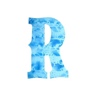 "Large Blue Metal Marquee Letter ""R"" - 23"" Tall"