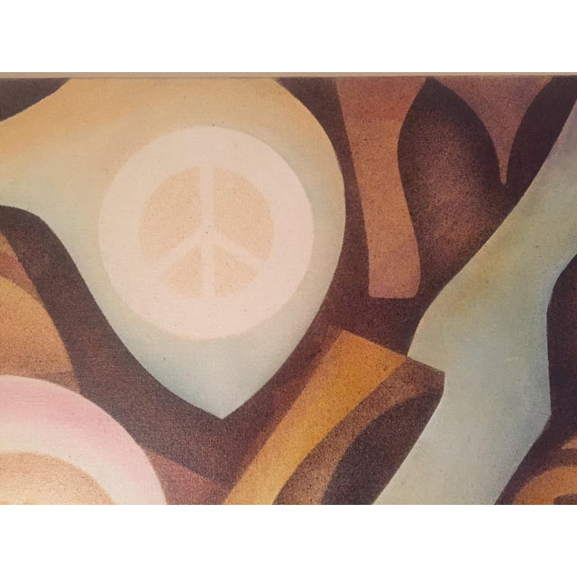 Vintage Abstract 'Peace' Painting - Image 5 of 6