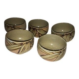1970s Glazed Ceramic Japanese Cups - Set of 5 For Sale