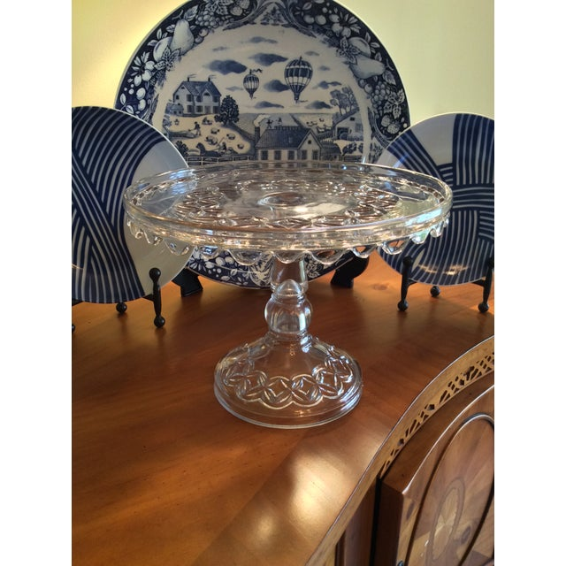 Farmhouse Vintage Early American Pressed Pedestal Glass Cake Stand For Sale - Image 3 of 8