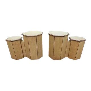 Unusual Pair of Custom Exotic Wood Octagon Hexagon Double Pedestals For Sale