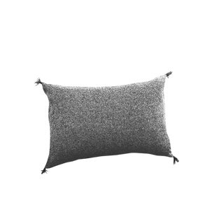 Transitional Talini Lumbar Black Wool Tweed Pillow With Leather Tassels For Sale