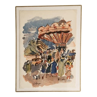 1950's Paris Merry Go Round Scene Print For Sale