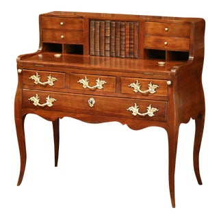 18th Century French Louis XV Walnut Bombe Ladies Desk Table With Faux Book Door For Sale