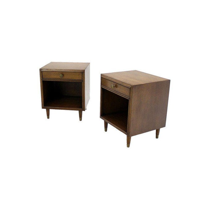 Gold Pair Johnson Mid Century Modern Walnut Night Stands End Table For Sale - Image 8 of 8