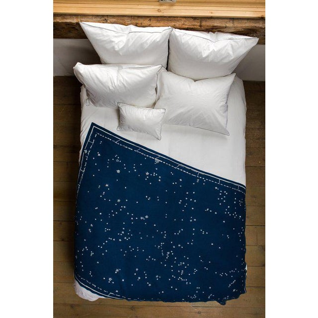 """Contemporary Constellation Cashmere Blanket, Midnight, 51"""" x 71"""" For Sale - Image 3 of 5"""