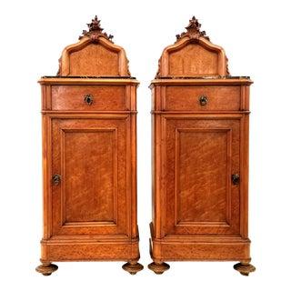 Pair Antique Northern Italian Birdseye Maple Rococo Revival Nightstands With Portoro Limestone Tops For Sale