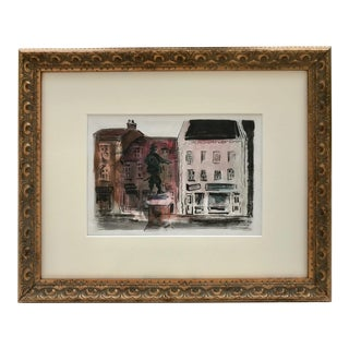 Vintage Watercolor of English Town of St. Ives in Cambridgeshire Statue Oliver Cromwell For Sale