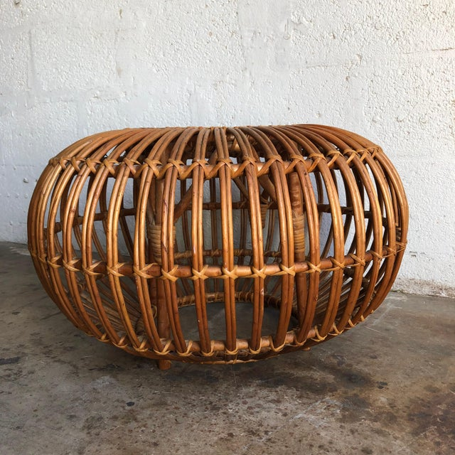 1960s Iconic Vintage Century Woven Rattan Ottoman Designed by Franco Albini. For Sale - Image 5 of 9