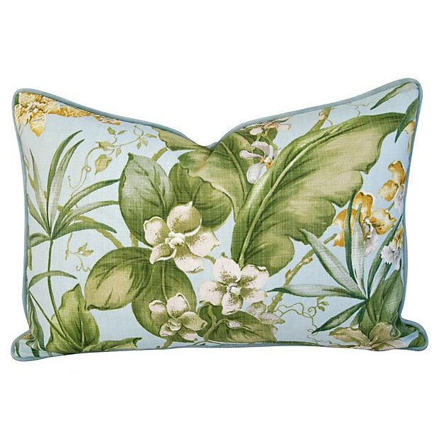 Large Tropical Linen & Velvet Pillows - Pair - Image 3 of 7