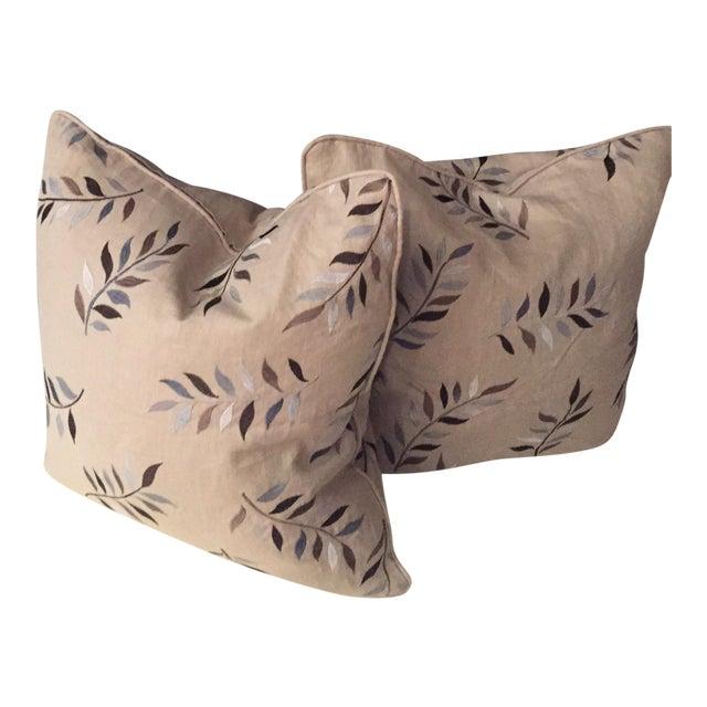 Autumn Leaves Print Pillows - A Pair For Sale