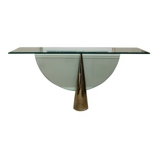"""Pinnacle"" Glass and Stainless Steel Console by J. Wade Beam for Brueton For Sale"