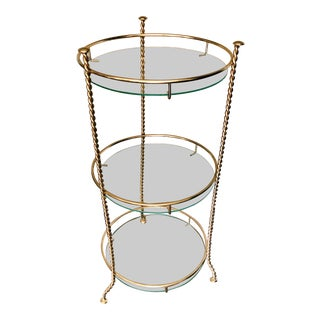 Vintage Hollywood Regency Gold + Glass Tri-Level Side Table For Sale