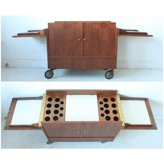 Vintage Mid-Century Rolling Bar Cabinet For Sale - Image 5 of 7