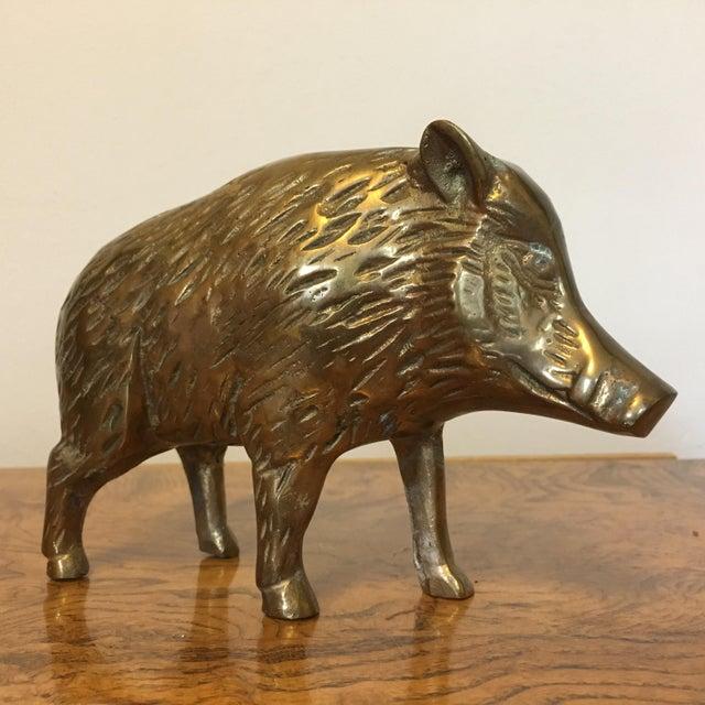 Brass Mid-Century Brass Boar For Sale - Image 7 of 7