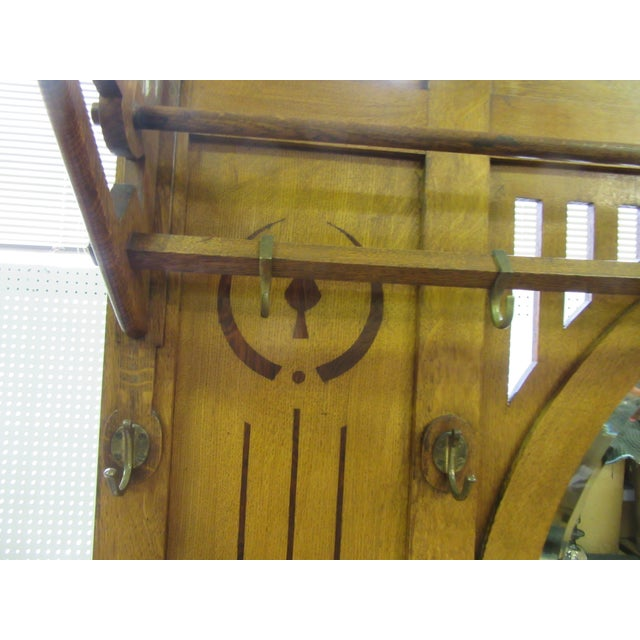 Antique English Arts and Crafts Oak Coat Rack, Hat Rack and Umbrella Stand For Sale In Philadelphia - Image 6 of 11