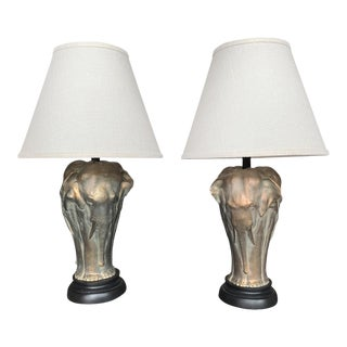 20th Century Bronze Elephant Table Lamps - a Pair For Sale