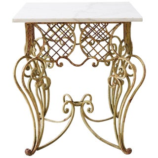 Italian Scrolled Iron and Marble Center Table For Sale