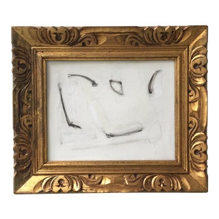 Abstract Minimal Painting in Vintage Gold Frame For Sale