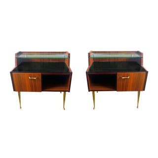 Pair of Italian Bedside Rosewood, Glass & Brass Cabinets, Mid Century Modern For Sale