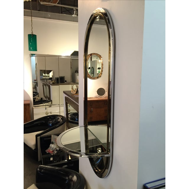 Mid Century Modern Design Institute America Chrome & Brass Mirror with Mirror Console - Image 4 of 11