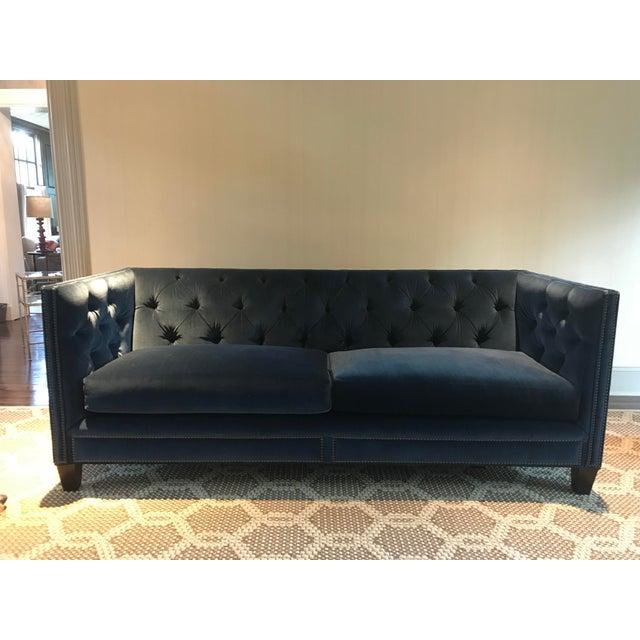Brass Kravet Malibu Blue Velvet Sofa For Sale - Image 7 of 7