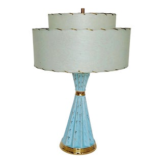 1950's Hollywood Regency Turquoise Blue & Gold Ceramic Deena Lamp With Original 2-Tiered Paper Fiberglass Shade For Sale