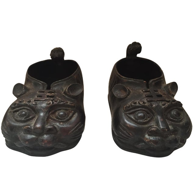 Chinese Brass Animal Shoes - A Pair - Image 1 of 8