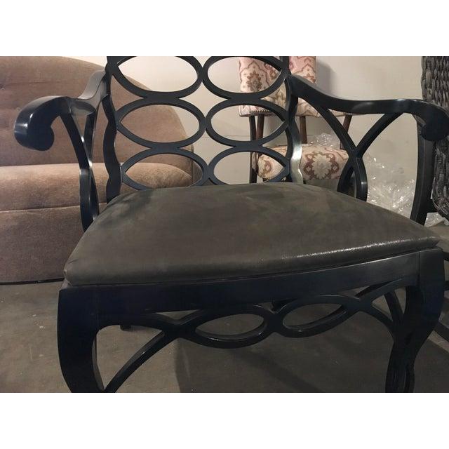 """Truex American Furniture """"Loop Chair"""" Ebony Leather - Image 2 of 4"""