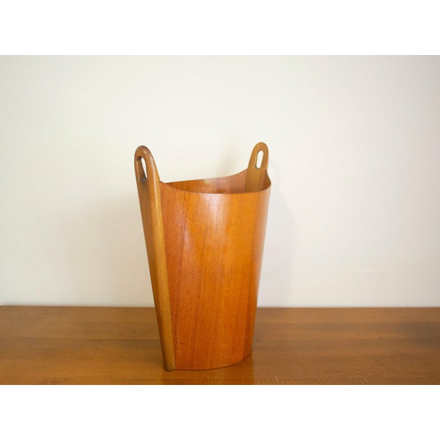 Very cool teak wastebasket by P.S. Heggen, Norway. Very nice construction, the sides are impossibly thin. A really...