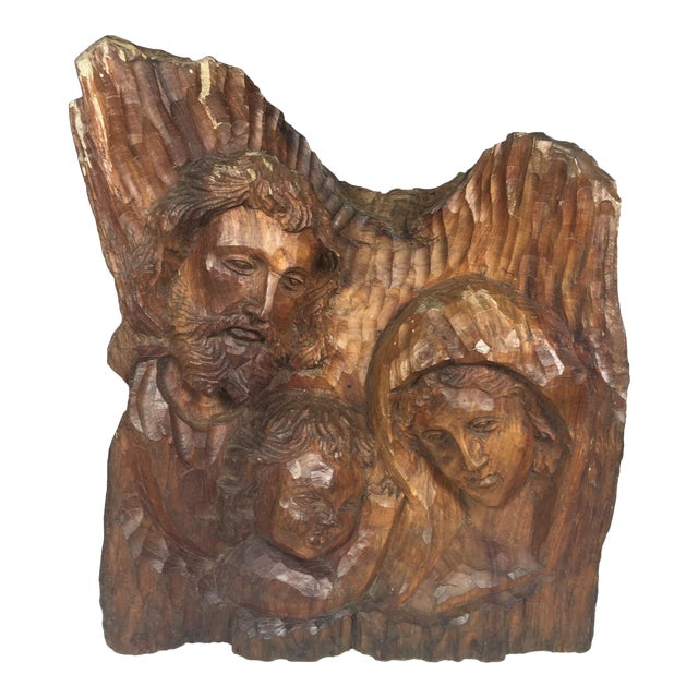 Vintage Carved Wood Religious Sculpture of Holy Family For Sale