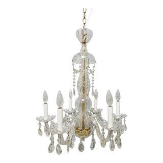 1930s Hollywood Regency Italian Crystal Chandelier For Sale