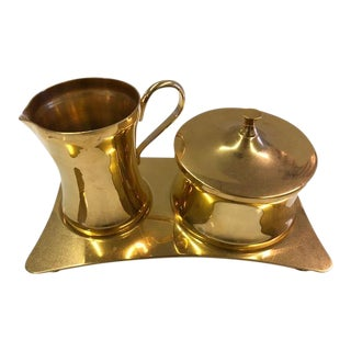 Brass Cream and Sugar Containers on Tray - Set of 3 For Sale