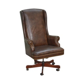Quality Brown Leather High Back Executive Office Chair (D)