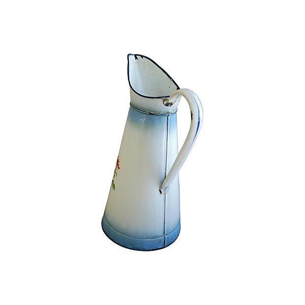 1920s Vintage French Hand-Painted Enameled Pitcher - Image 5 of 7