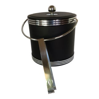 Vintage Black and Chrome Kraftware Ice Bucket & Tongs in Original Box For Sale