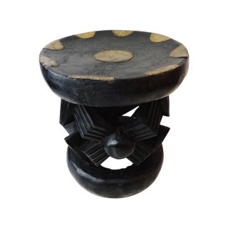 African Bamun Stool With Copper Work