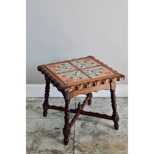 All original, intact Catalina tile and oak side table. Vivid colored original tiles.