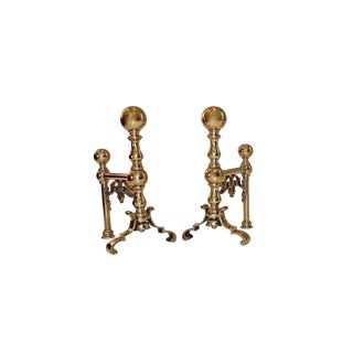 19th Century English Brass Andirons - a Pair For Sale