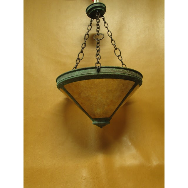 Vintage Arts and Crafts Mica Mesa Pendant Lamp For Sale - Image 9 of 10