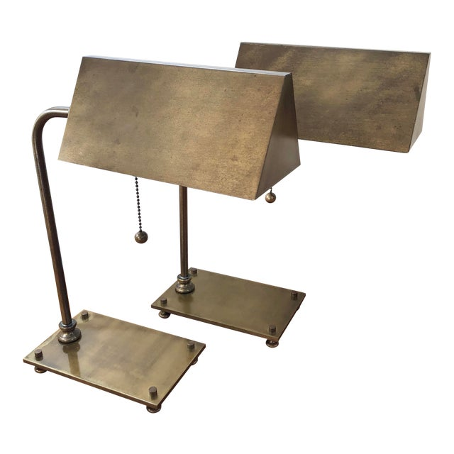 Solid Brass 1930's Desk Lamps - a Pair For Sale