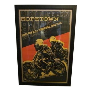 Earl Newman Vintage Hopetown Grand-Prix Moto Cross Motorcycle Poster For Sale