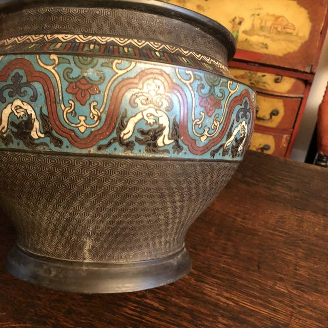 Antique Asian Large Bronze Cloisonne & Champleve Jardiniere With Taotie Design For Sale - Image 9 of 13