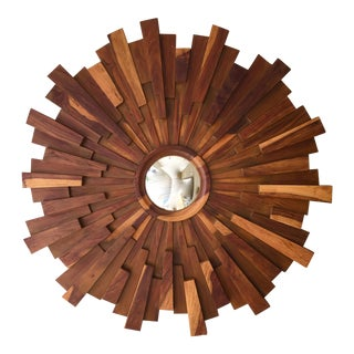 Brutalist Style Wood Sunburst Mirror For Sale