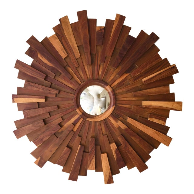 Brutalist Style Wood Sunburst Mirror For Sale