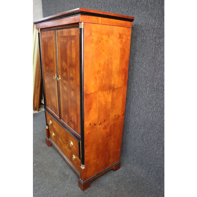 Metal Century French Empire Burl & Ebonized Armoire For Sale - Image 7 of 8