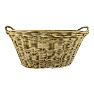 Large Vintage English Willow Hand Woven Oval Laundry Basket With Two Handles For Sale