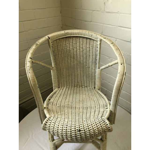 Antique White Early 20th Century Wicker Child's Chair For Sale - Image 8 of 13
